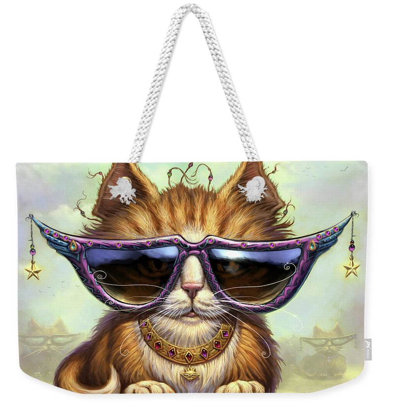 Cat Artwork. Cats Weekender Tote Bag featuring the painting Just Be by Jeff Haynie