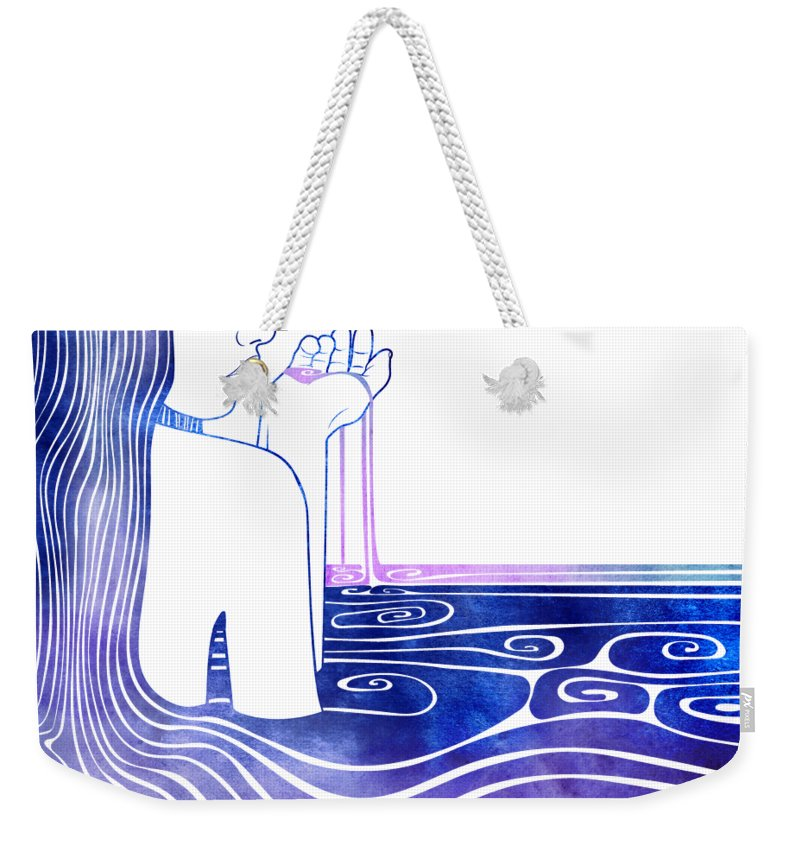 Aqua Weekender Tote Bag featuring the mixed media Kalianassa by Stevyn Llewellyn