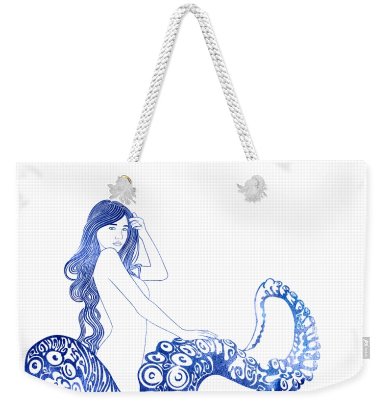 Aqua Weekender Tote Bag featuring the mixed media Keto by Stevyn Llewellyn
