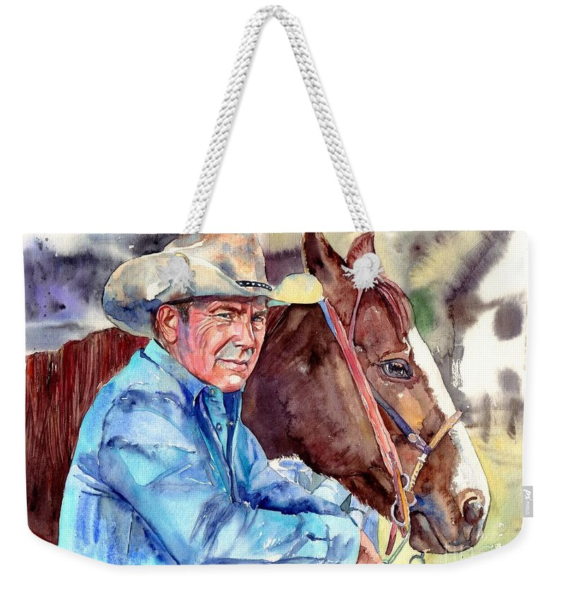 Kevin Weekender Tote Bag featuring the painting Kevin Costner Portrait by Suzann Sines