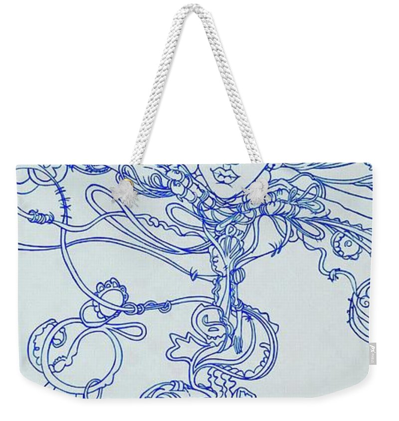 Weekender Tote Bag featuring the painting Keys To The Garden by Judy Henninger
