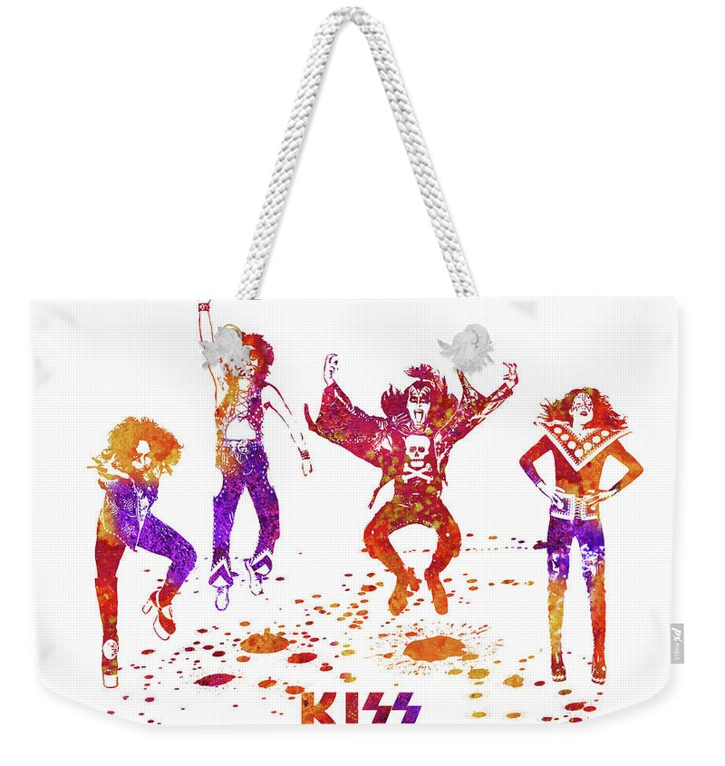 Kiss Weekender Tote Bag featuring the painting Kiss Band Watercolor Splatter 02 by JESP Art and Decor