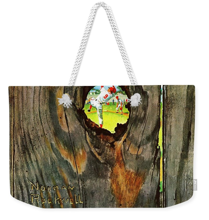Baseball Weekender Tote Bag featuring the drawing Knothole Baseball by Norman Rockwell
