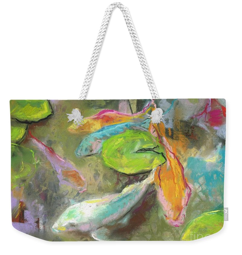 Koi Weekender Tote Bag featuring the pastel Koi by Frances Marino