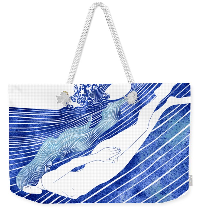 Aqua Weekender Tote Bag featuring the mixed media Kymothoe by Stevyn Llewellyn