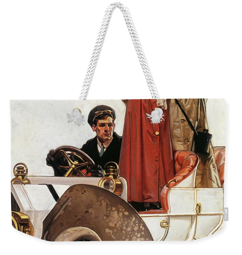 Joseph Christian Leyendecker Weekender Tote Bag featuring the painting Lady And Car - Digital Remastered Edition by Joseph Christian Leyendecker