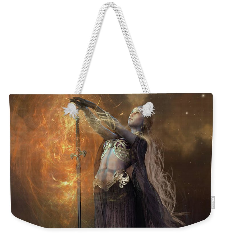 Lady Of The Lake Weekender Tote Bag featuring the mixed media Lady Of The Lake by Shanina Conway