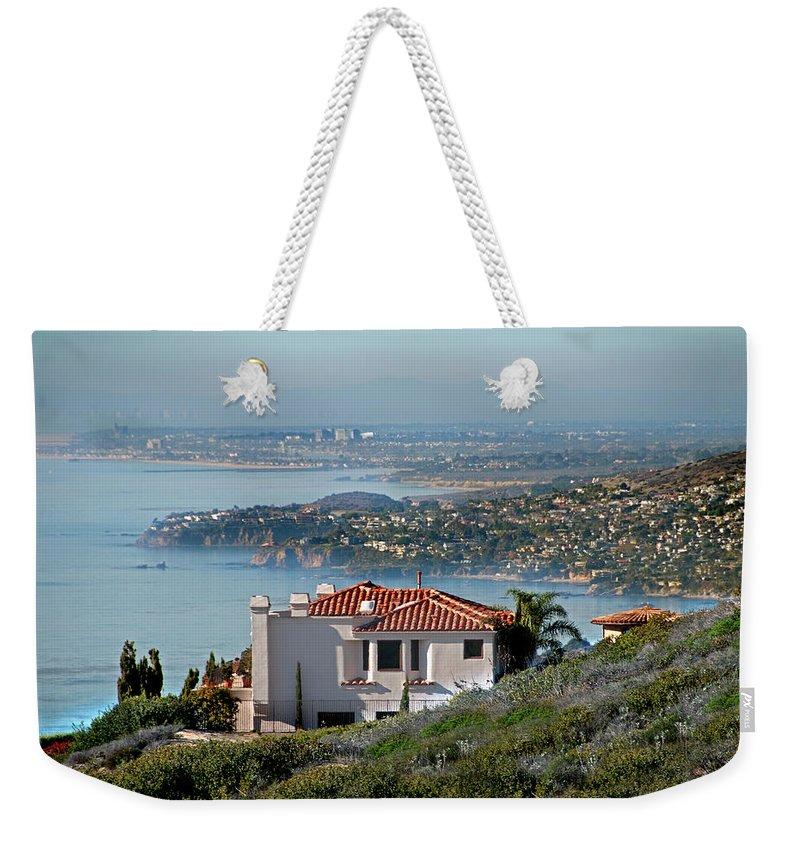 Laguna Beach Weekender Tote Bag featuring the photograph Laguna Beach Hilltop Homes by Mitch Diamond