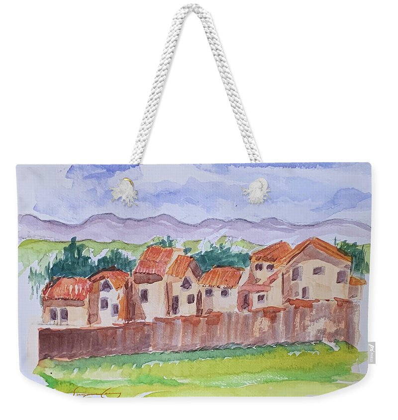 Houses Weekender Tote Bag featuring the painting Laguna Del Sol Cuenca Ecuador by Suzanne Cerny