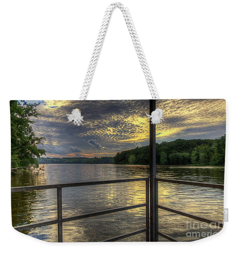 Hdr Weekender Tote Bag featuring the photograph Lake Girardeau Conservation Area by Larry Braun