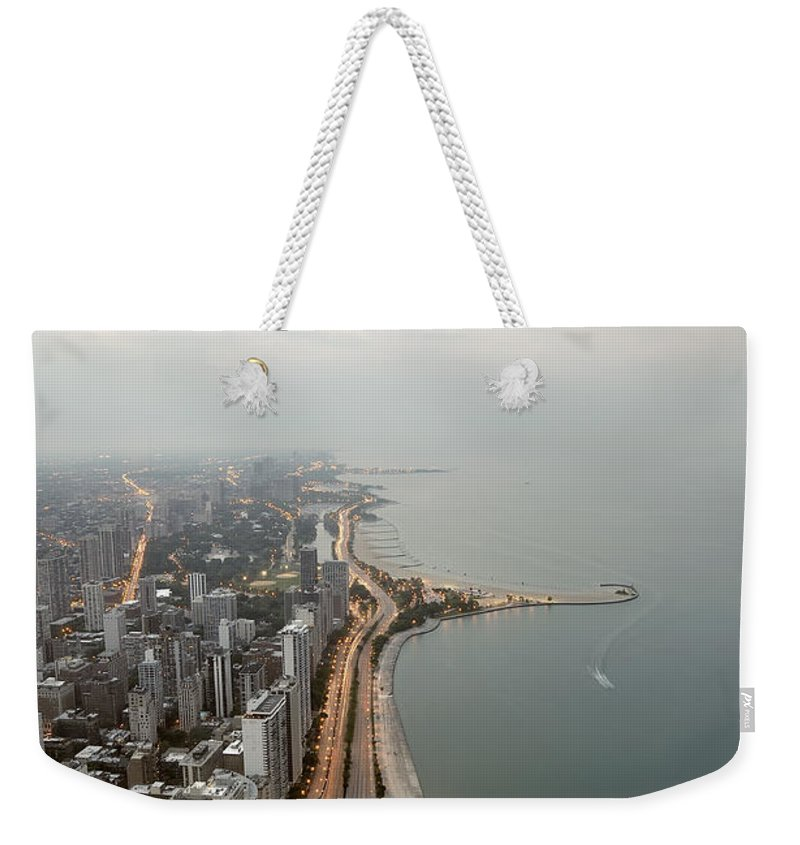 Tranquility Weekender Tote Bag featuring the photograph Lake Michigan And Chicago Skyline by Ixefra