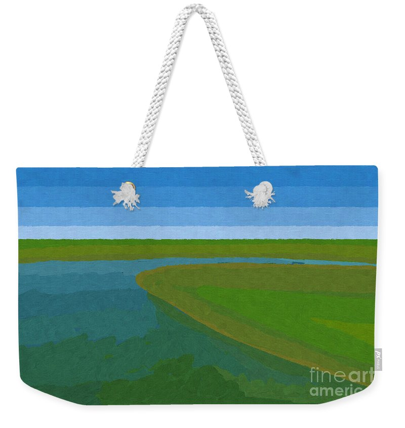 Pflugerville Weekender Tote Bag featuring the painting Lake Pflugerville Abstract Landscape by D Tao