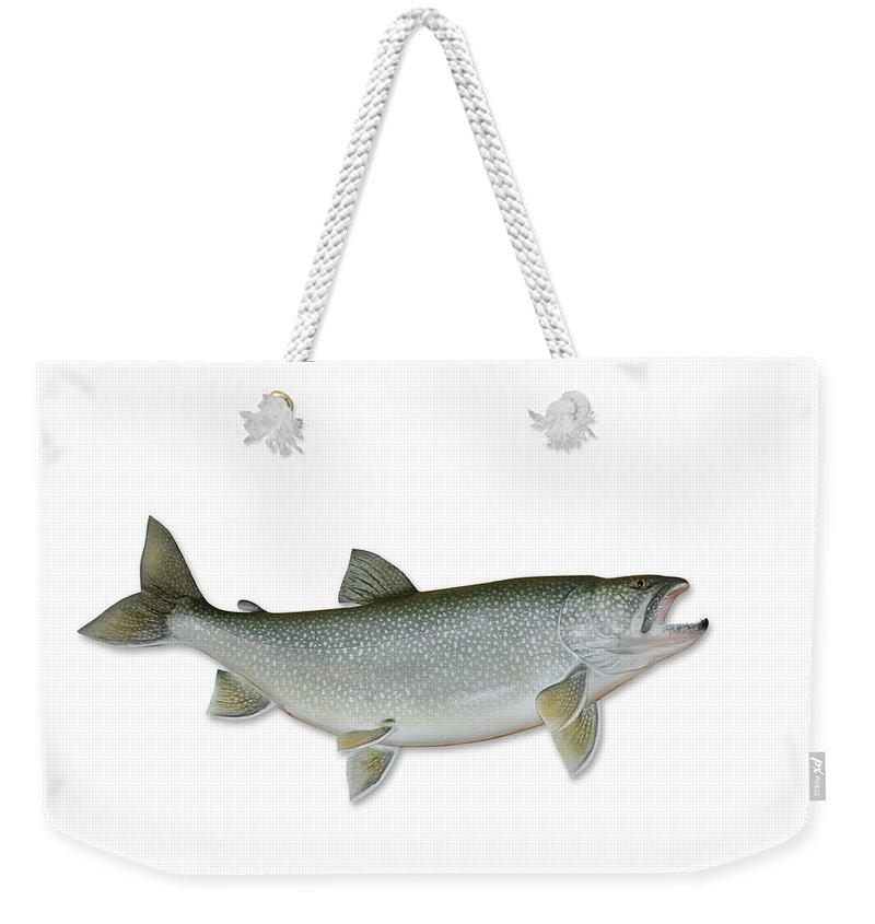 White Background Weekender Tote Bag featuring the photograph Lake Trout With Clipping Path by Georgepeters
