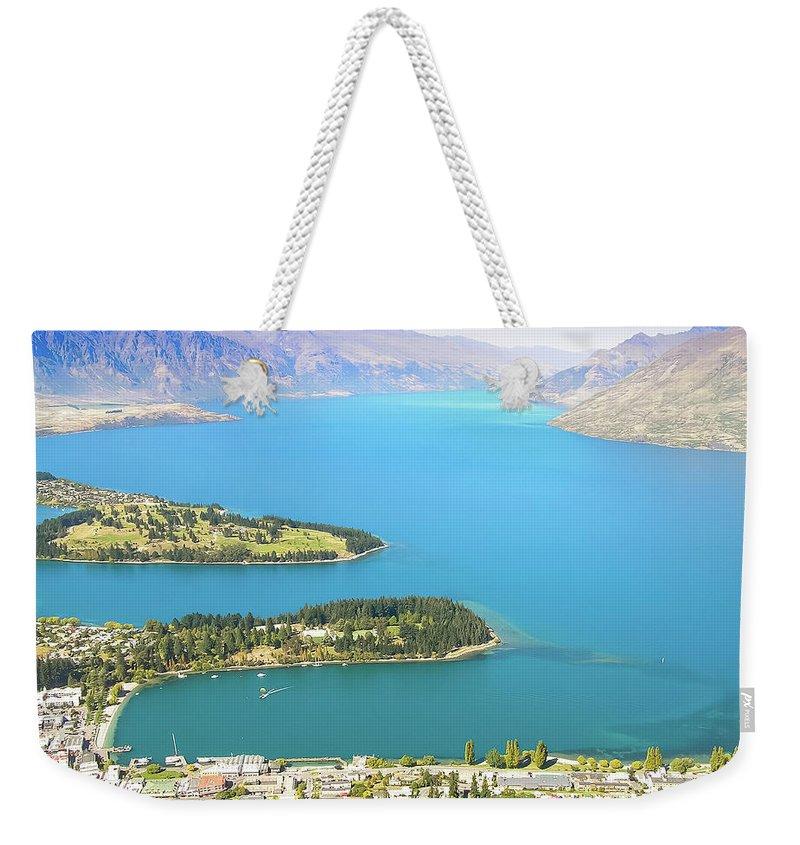 Scenics Weekender Tote Bag featuring the photograph Lake Wakatipu by Steve Oldham