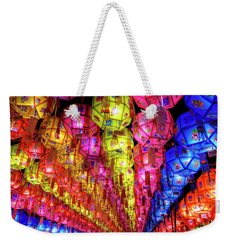 Tranquility Weekender Tote Bag featuring the photograph Lanterns Hanging by Jason Teale Photography Www.jasonteale.com