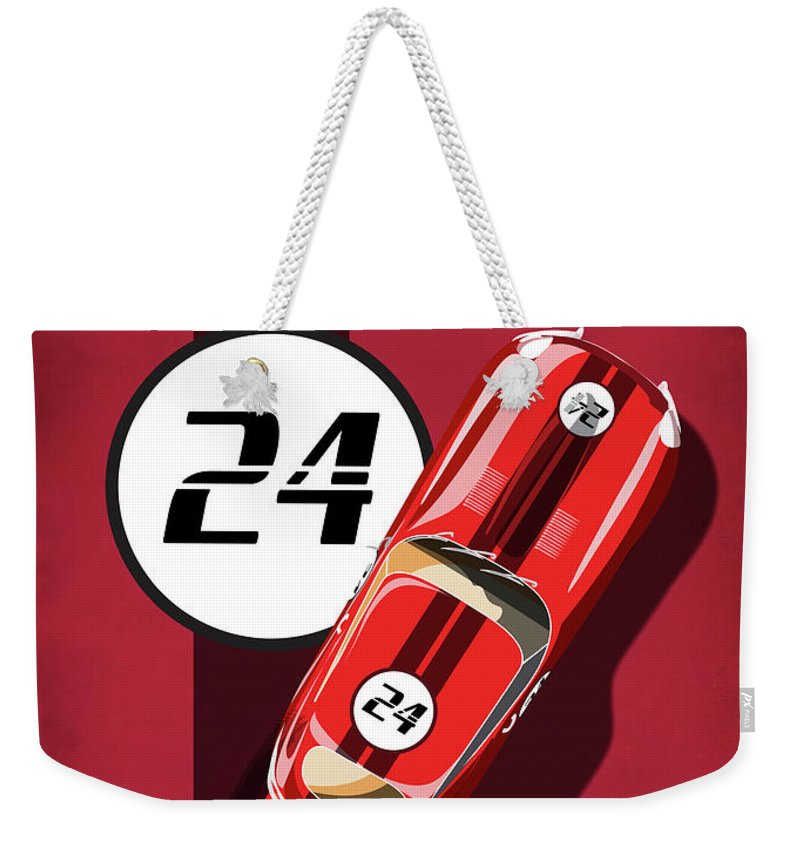 Vintage Cars Weekender Tote Bag featuring the painting Le Mans Jag by Sassan Filsoof
