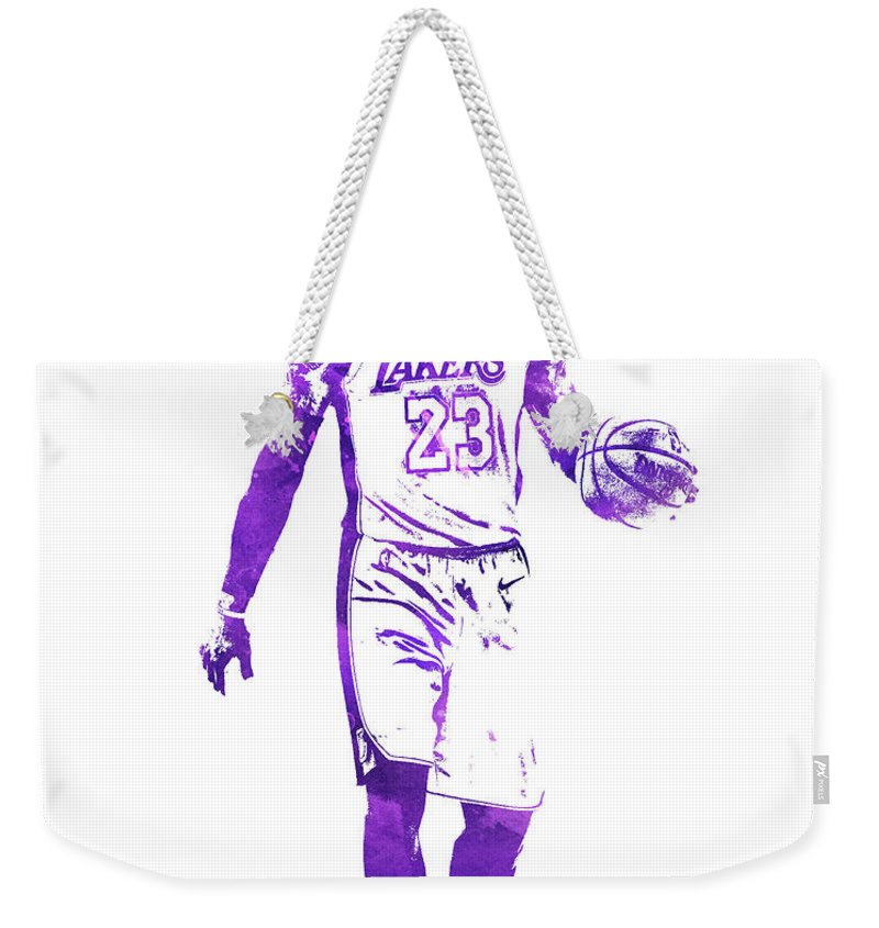 5d61f147c90 Lebron James Los Angeles Lakers Water Color Pixel Art 1 Weekender Tote Bag  for Sale by Joe Hamilton