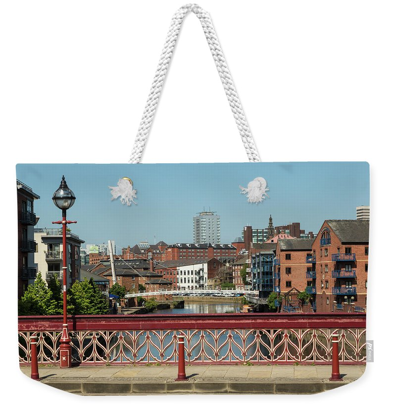 English Culture Weekender Tote Bag featuring the photograph Leeds Waterfront Developments by P A Thompson