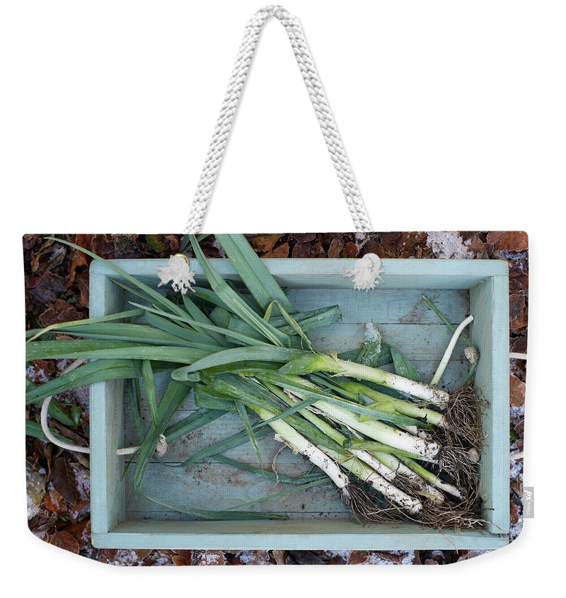Outdoors Weekender Tote Bag featuring the photograph Leeks In Wooden Box On A Frosty Winter by Dougal Waters