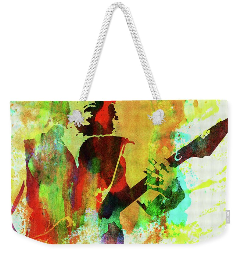 Kirk Hammett Weekender Tote Bag featuring the mixed media Legendary Kirk Hammett Watercolor by Naxart Studio