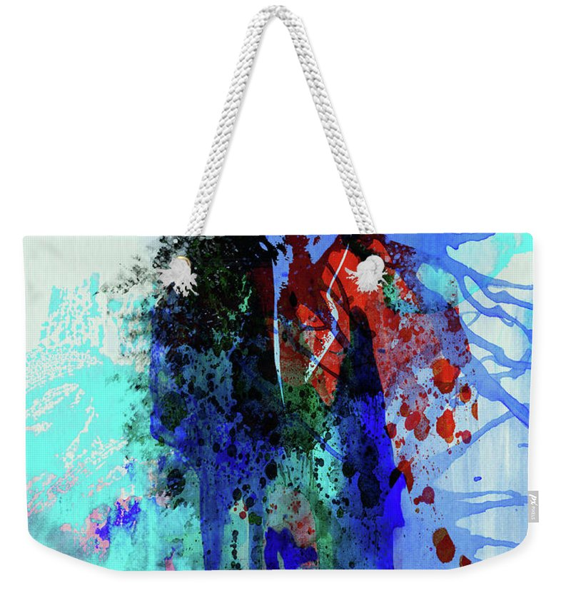 Mick Jagger Weekender Tote Bag featuring the mixed media Legendary Mick Jagger Watercolor by Naxart Studio