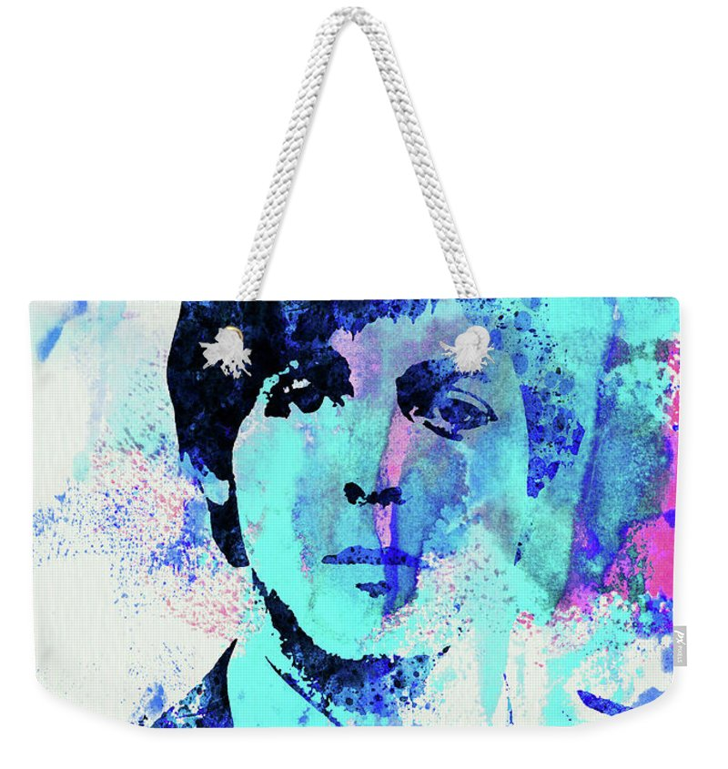Beatles Weekender Tote Bag featuring the mixed media Legendary Paul Watercolor by Naxart Studio