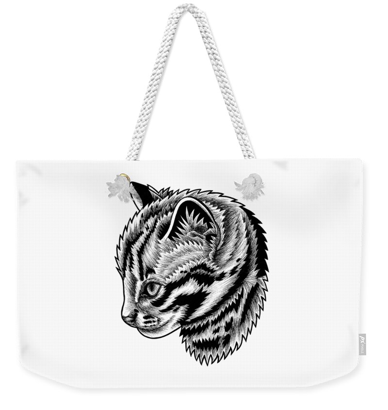 Leopard Weekender Tote Bag featuring the drawing Leopard cat kitten - ink illustration by Loren Dowding