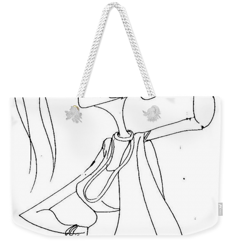 Pen Work On Paper Weekender Tote Bag featuring the drawing Let Me Think by Mustafa Attari