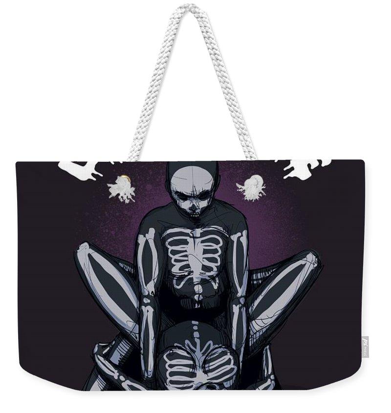 Skeleton Weekender Tote Bag featuring the drawing Let's Bone by Ludwig Van Bacon