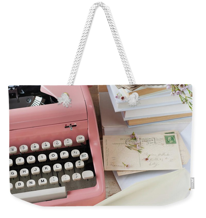 Office Weekender Tote Bag featuring the photograph Letters By Antique Typewriter by Tetra Images