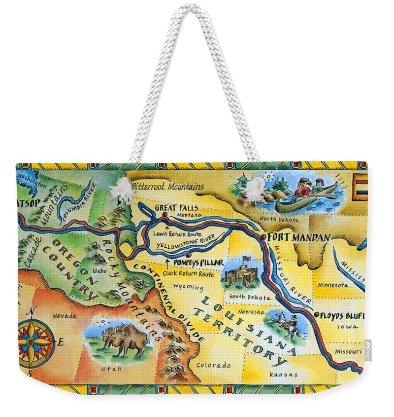 Watercolor Painting Weekender Tote Bag featuring the digital art Lewis & Clark Expedition Map by Jennifer Thermes