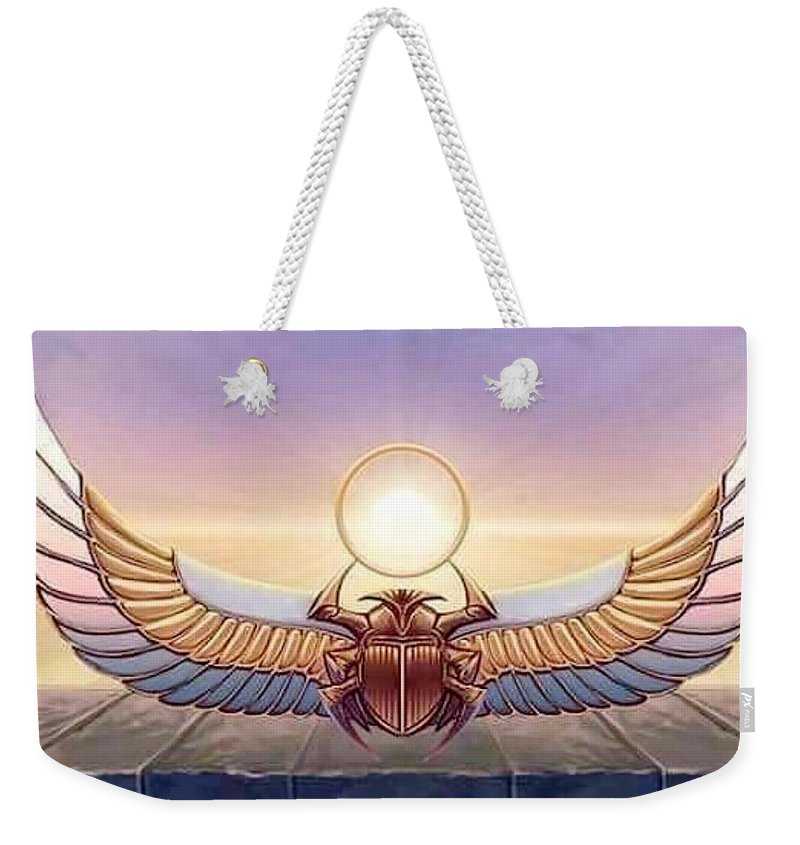 Scarab Weekender Tote Bag featuring the digital art Light Alchemy by Bright Lights