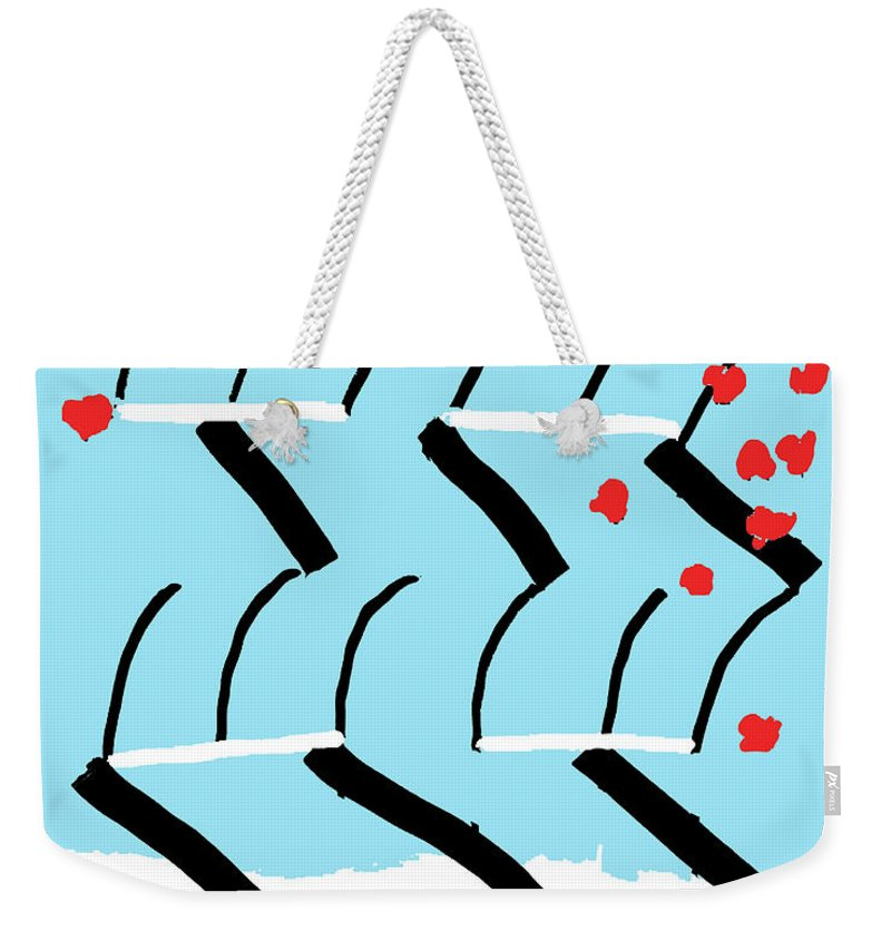 Print Weekender Tote Bag featuring the painting Light Blue Red by Yifat Gat