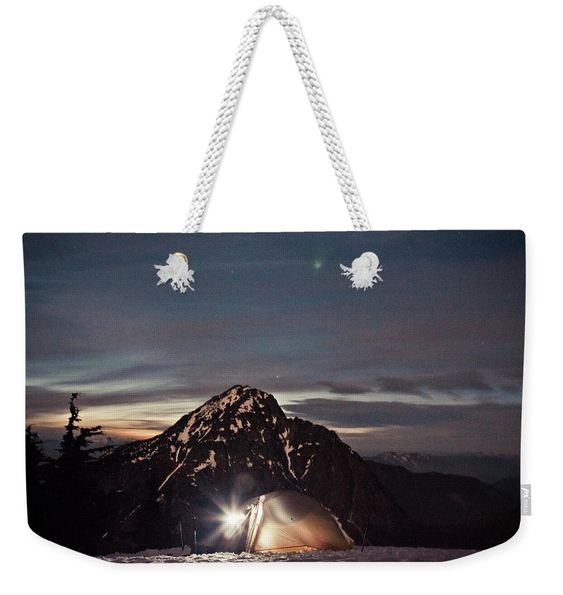 Camping Weekender Tote Bag featuring the photograph Lit Tent At Night by Christopher Kimmel
