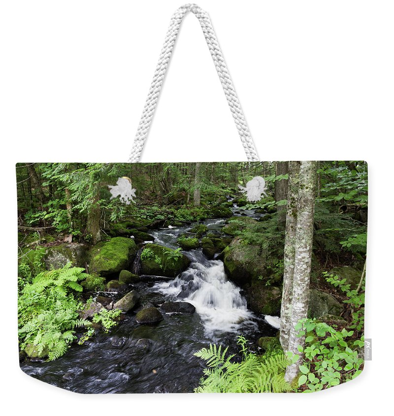 Waterfall Weekender Tote Bag featuring the photograph Little Maine Waterfall by Kirkodd Photography Of New England