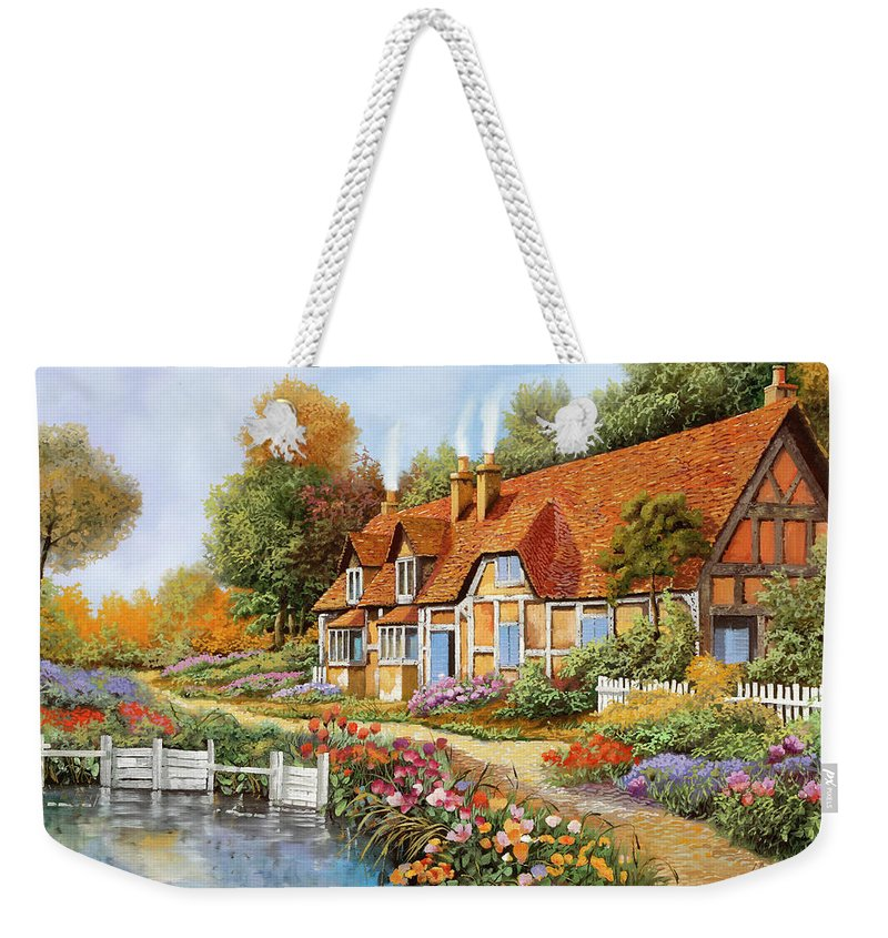 England Weekender Tote Bag featuring the painting Lo Steccato Sul Fiume by Guido Borelli