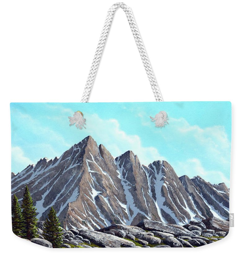 Landscape Weekender Tote Bag featuring the painting Lofty Peaks by Frank Wilson