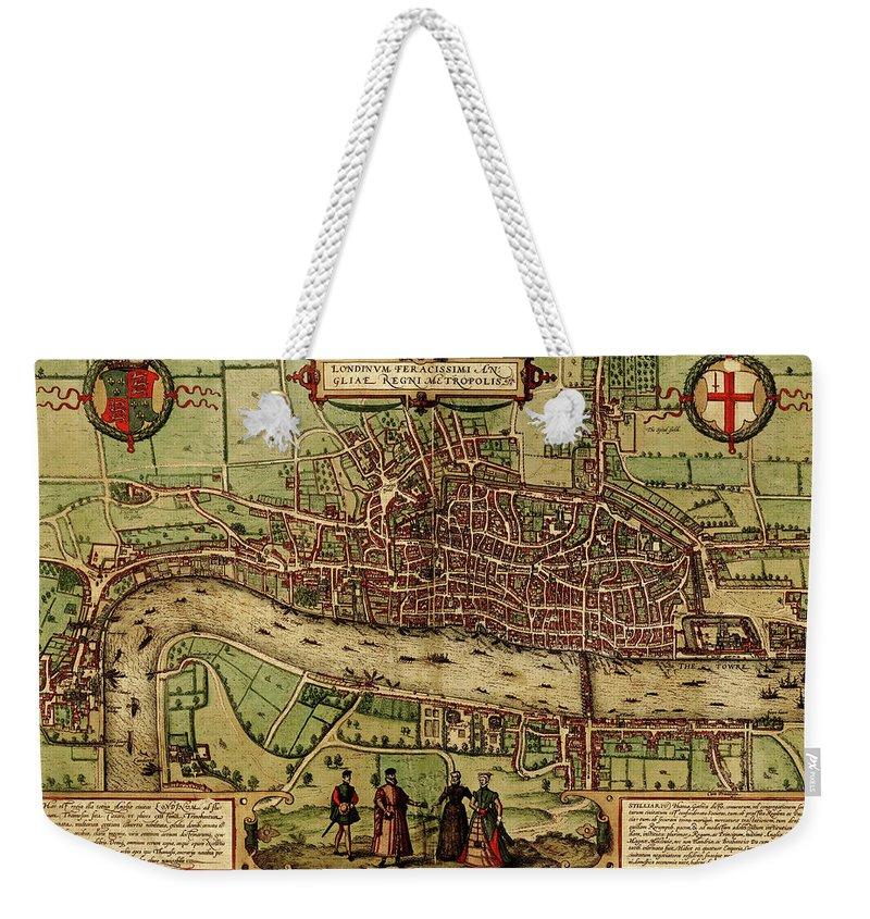 London Millennium Footbridge Weekender Tote Bag featuring the digital art London Antique View by Nicoolay