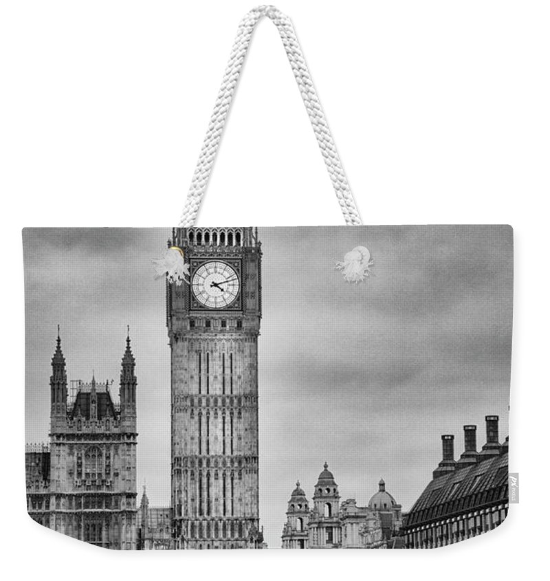 Clock Tower Weekender Tote Bag featuring the photograph London, Big Ben, Black And White by Elisabeth Pollaert Smith