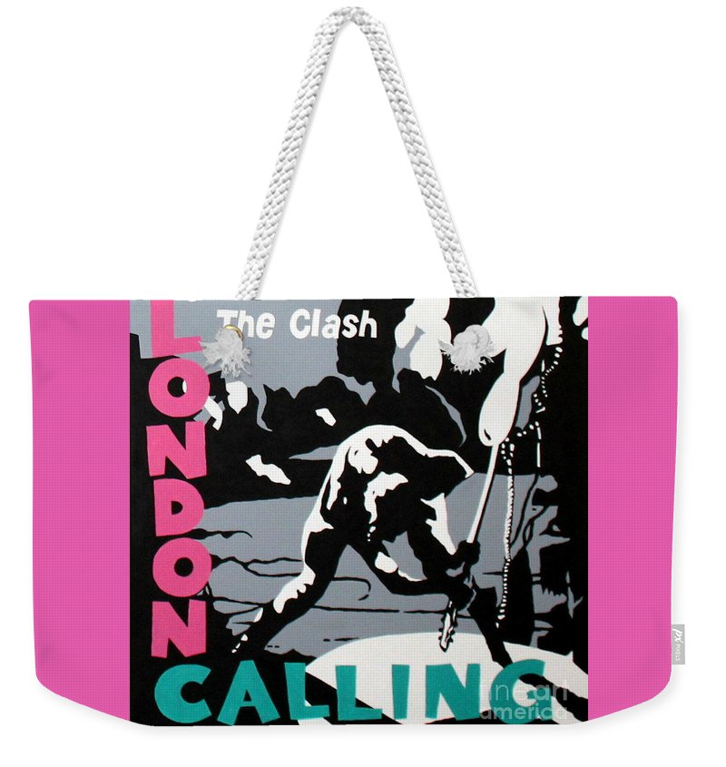 London Calling Weekender Tote Bag featuring the painting London Calling The Clash by Amy Belonio
