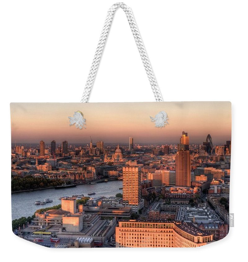 Cityscape Weekender Tote Bag featuring the photograph London Cityscape At Sunset by Michael Lee