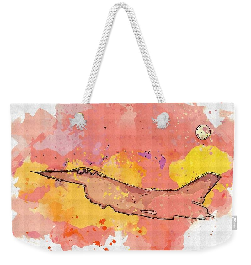 Sky Weekender Tote Bag featuring the painting Lone Sky Warrior - Watercolor By Adam Asar by Adam Asar