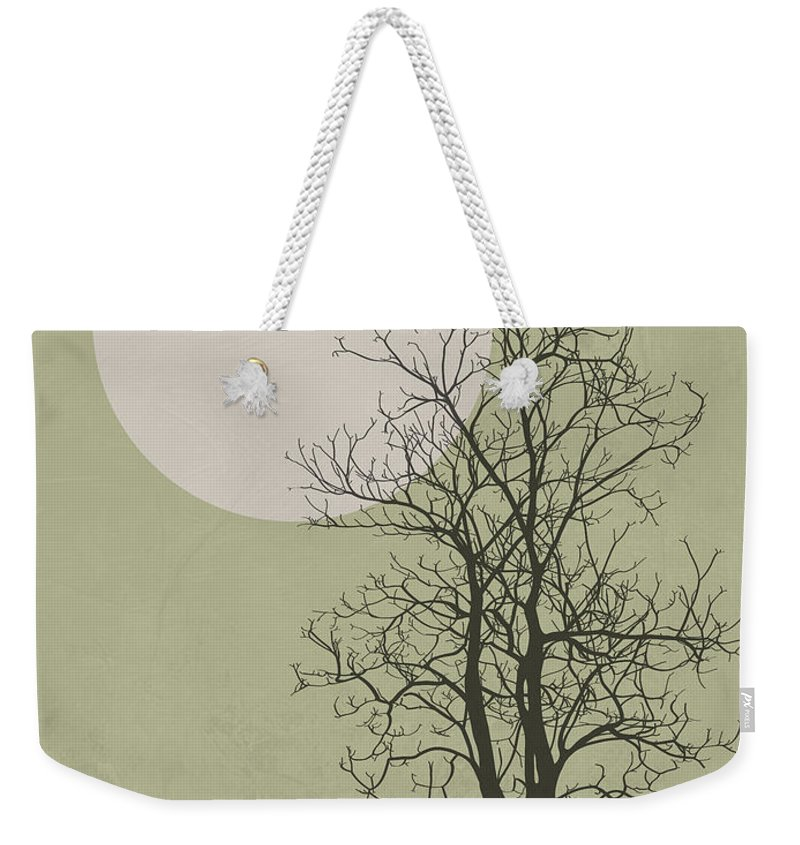 Tree Weekender Tote Bag featuring the mixed media Lonely Winter Tree by Naxart Studio