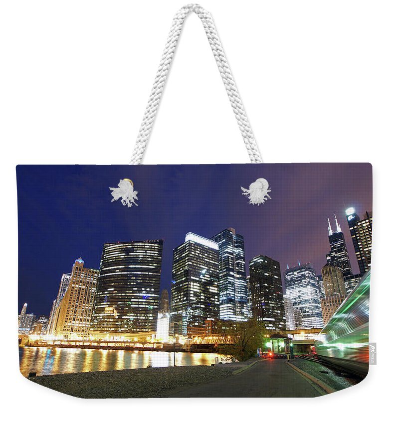 Chicago River Weekender Tote Bag featuring the photograph Long Exposure Of Chicago by Photographed By Christopher James Botham