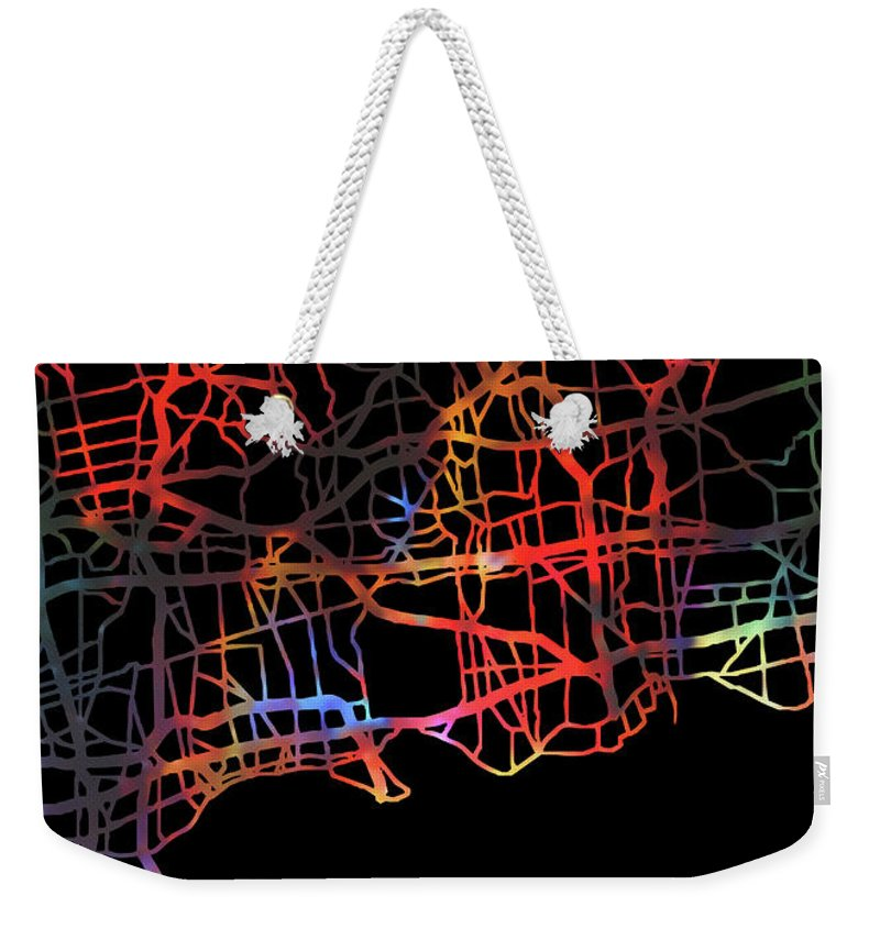 Long Island Weekender Tote Bag featuring the mixed media Long Island New York Watercolor City Street Map Dark Mode by Design Turnpike