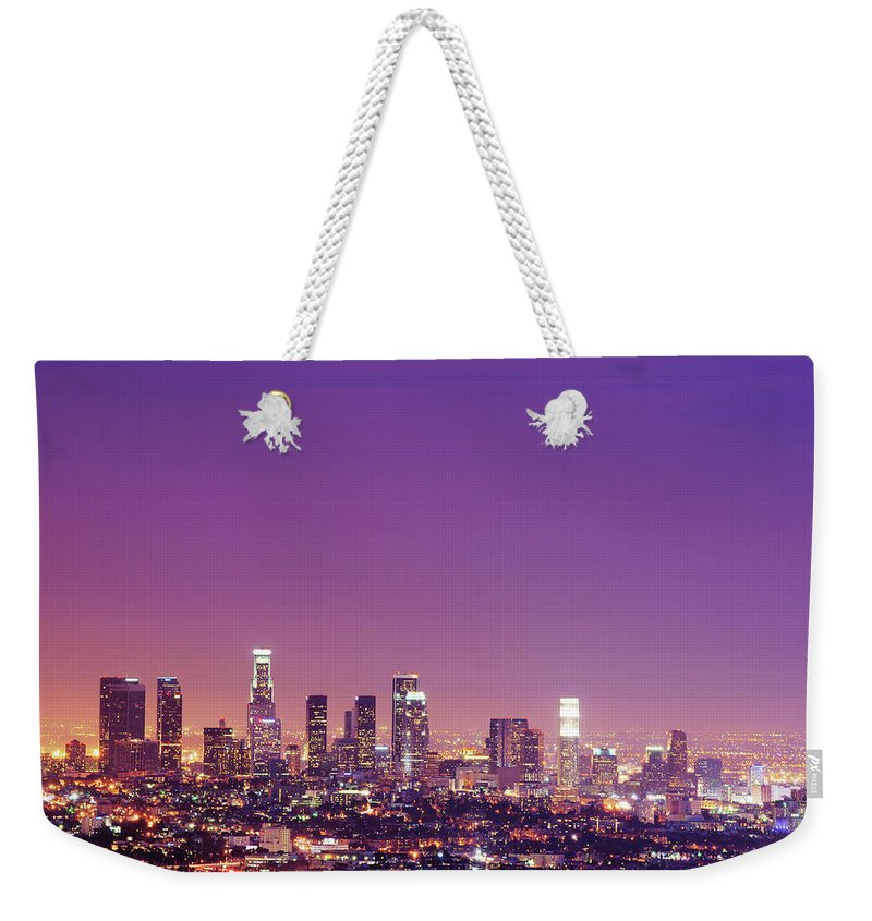 Clear Sky Weekender Tote Bag featuring the photograph Los Angeles At Dusk by Dj Murdok Photos