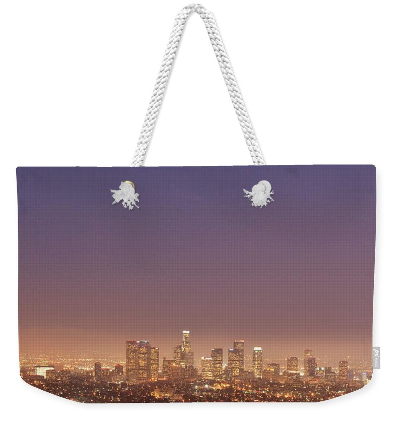 Scenics Weekender Tote Bag featuring the photograph Los Angeles Skyline At Twilight by Uschools