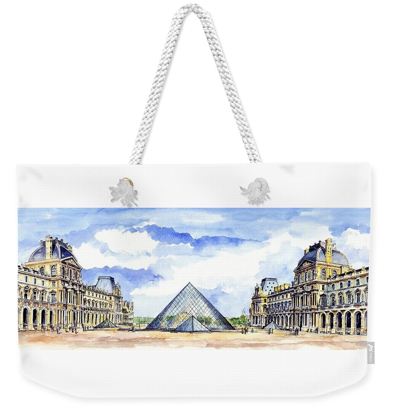 Louvre Museum Weekender Tote Bag featuring the painting Louvre Museum by ArtMarketJapan