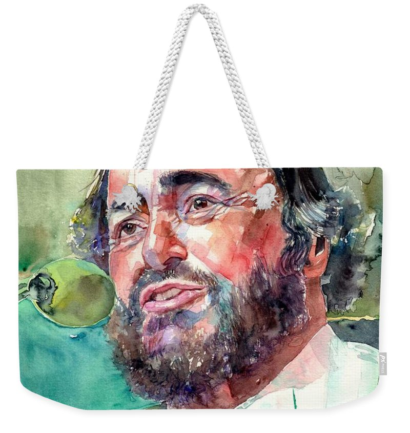 Luciano Pavarotti Weekender Tote Bag featuring the painting Luciano Pavarotti Portrait by Suzann Sines