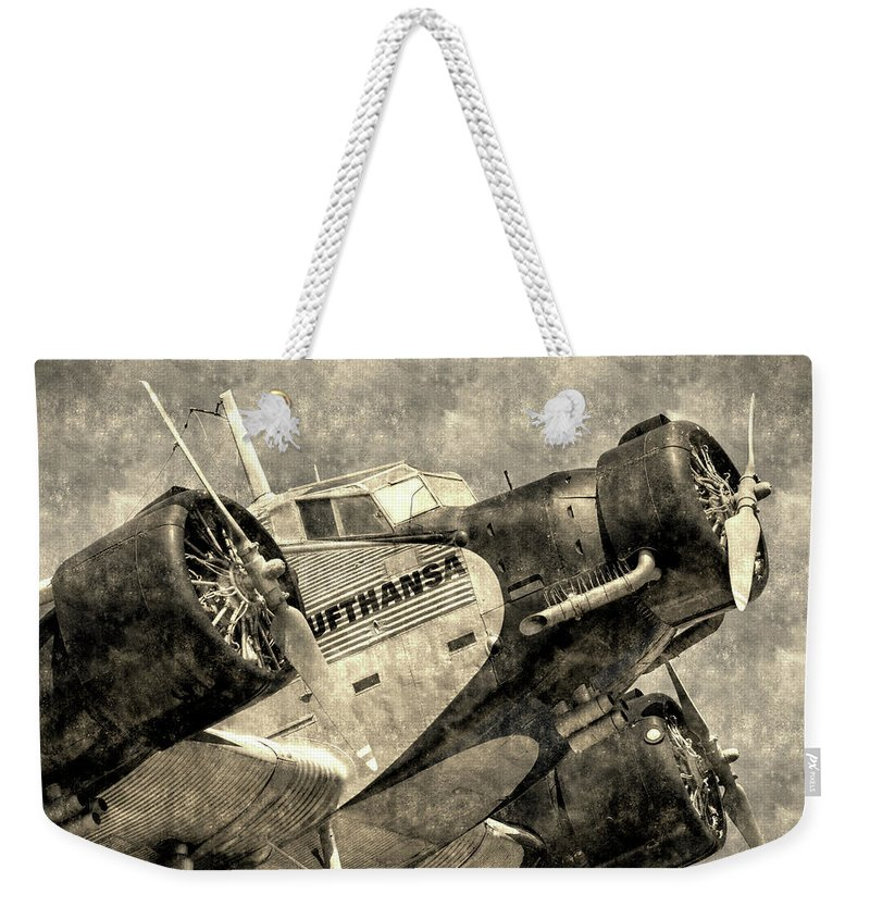 Ww2 Vintage Photo Weekender Tote Bag featuring the photograph Lufthansa Junkers Ju 52 Vintage by David Pyatt